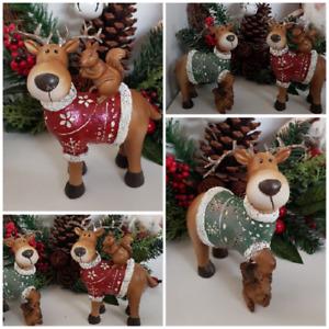 Christmas Reindeer Cute Fun Decoration Choose Colour Red / Green Glitter Finish