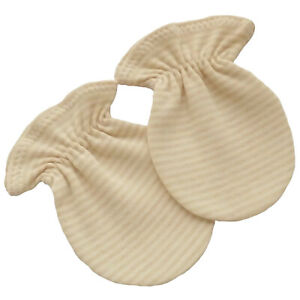 Organic Cotton Newborn Baby Anti Scratch Mittens Gloves Light Brown Striped