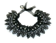 Black Fabric/Lace Necklace with White Beads, Choker, Women's Accessories