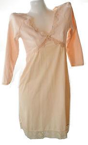 Women's full slip 3/4 sleeve lace trim cotton nylon dress no.026 pink sz  34