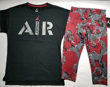 Nike Air Jordan Girls 2 PC Set Shirt Tee & Legging Capris Outfit Size XXL