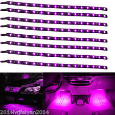 8x 15 LED 30cm Purple Car Motor Vehicles Flexible Waterproof Strip Light SMD 12V