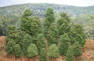 22 Realistic ON30, and O Gauge  Handcrafted Pine Trees for Train Diorama