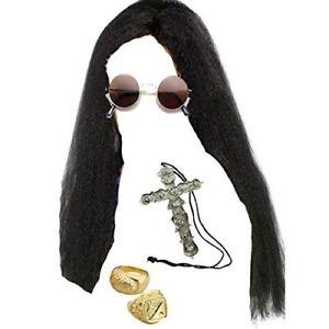 Ozzy Long Black Wig, Glasses, Cross Necklace & 2 Gold Rings Osbourne Fancy Dress