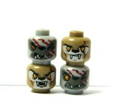 Lego 4 Minifigure Reversible Head Grey Gray Tan Monster Zombie Halloween