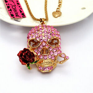 Popular Pink Crystal Flower Skull Head Pendant Betsey Johnson Chain Necklace