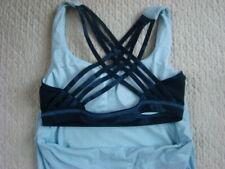 Lululemon 4 Free To Be Wild strappy Bra Lotus Oil Slick Blue Camo Tank Top +Pads