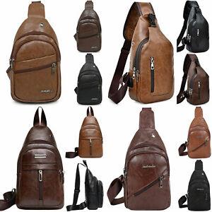 Mens Messenger Shoulder Bag Leather Chest Sling Crossbody Satchel Travel Casual