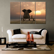 Elephant Sunset Unframed HD Canvas Prints Home Decor Wall Art Picture Poster