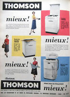PUBLICITÉ DE PRESSE 1955 THOMSON CUISINIÈRE MEUBLE FRIGORIFIQUE MACHINE A LAVER