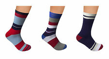 "Men Cotton Seamless Socks 3 PACK by Rambutan ""Navy Collection"" Colorful Striped"