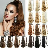 Women Lady Natural Wrap Long Ponytail On Hair Extension Clip Ponytail Wavy Curly