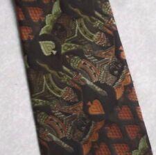 Tootal Re di Picche vintage tie 1960s 1970s mod casual Scintillante Marrone Verde