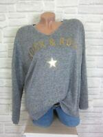 38 40 42 feinstrick Pullover Pulli Tunika Shirt Oversize lurex Grau E871 NEU