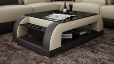 Leather Coffee Table Modern Glass Design Living Room CT9012bb
