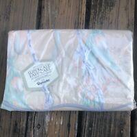 Vtg Wamsutta Queen Flat Sheet Cloisonne Orange Green Floral Cotton Supercale NEW