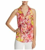T Tahari Lynna Blouse Tank Top Pink Yellow Floral Ruffle Sleeveless V Neck NEW