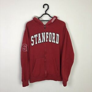 Vintage Embroidered Spell Out Stanford Retro Hoodie Sweatshirt Red - S/M