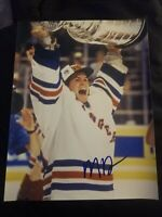 MIKE RICHTER SIGNED 8X10 PHOTO NEW YORK RANGERS STANLEY CUP W/COA+PROOF RARE WOW