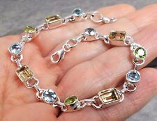 925 Silver PERIDOT CITRINE BLUE TOPAZ Bracelet B557~Silverwave*uk Jewellery