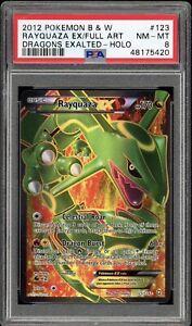 PSA 8 Rayquaza EX Full Art Holo 123 BW Dragons Exalted Pokemon Card 2012
