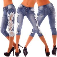 10180 Sexy Capri-Jeans Bermuda Short kurze 3/4 Hose Hot Shorts jeans Spitze