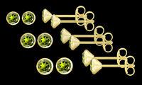 ECHT GOLD *** 1 Paar Peridot Ohrstecker, wählbar in 3,5 - 4 - 4,5 mm Ø