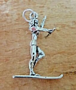 Sterling Silver 3D 27x18mm Female Girl Water Ski Skier Charm