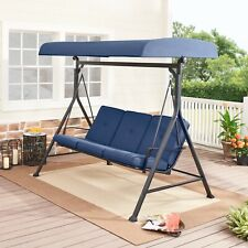 New listing 3 Person Porch Swing Cushion Adjustable Canopy Steel Plush Frame Outdoor Patio
