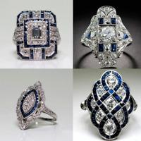Fashion 925 Sliver Trendy Women Jewelry Sapphire & White Topaz Wedding Ring Gift