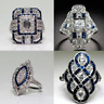 Fashion 925 Sliver Trendy Women Jewelry Sapphire & White Topaz Wedding Ring Gift