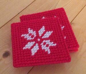 Holiday Snowflake Coasters Lot of 4