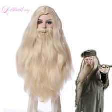HP Albus Dumbledore Cosplay Wig Beige White Long Hair Beard Halloween US Stock
