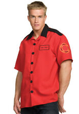 Fireman Adult Mens Costume Red Shirt With Black Collar Fancy Dress Up Underwraps