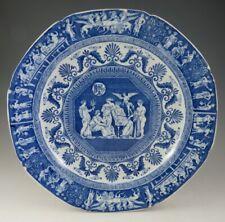 Antique Pottery Pearlware Blue Transfer Minton Greek Kirk Masonic Plate 1810