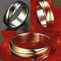 6mm Stainless Steel Men Wedding Band Women Silver Gold Plated Ring Sizes I to Z1