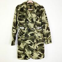 INC International Concepts Womens Camouflage Green Long Trench Coat Jacket XS