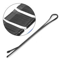 60Pcs Black Invisible Bobby Pins Hair Clips Flat Top Grips Salon Barrette 45mm