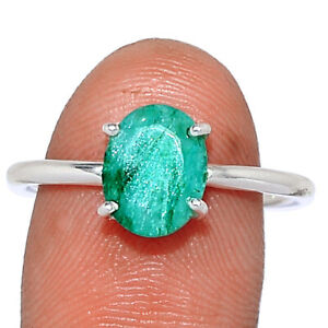 Emerald - India 925 Sterling Silver Ring Jewelry s.9 BR102983