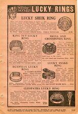 1922 small Print Ad of Weird Mysto Lucky Rings King Tut, Skull Crossbones, Sheik