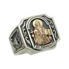 Saint Benedict handcrafted Gold 10K & Sterling Silver 925 Christian mens ring