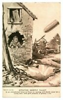 Antique military WW1 postcard Bruce Bairnsfather Situation Shortly Vacant