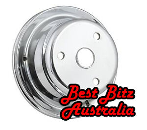 CHROME CRANK PULLEY 1-GROOVE CHEV SB LONG WATER PUMP *NEW* CHEVROLET SMALL BLOCK