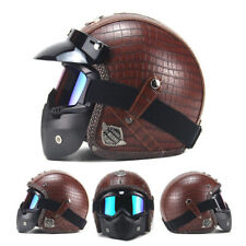 Brown Motorcycle Helmet 3/4 Open PU Leather + Goggle Mask Vintage Style Reliable