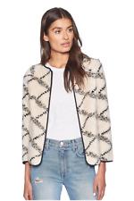 Joie Women's Suzana Fuzzy Long Sleeve Zip Front Beige/Black Cardigan Coat