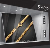 18k Goldkette Königskette vergoldet 60cm lang Männer Herren Frauen Damen 4MM G25