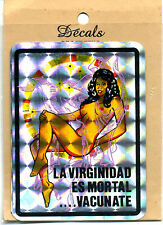 Vintage Prismatic sticker 70's La Virginidad pin up girl Van Vanner Biker