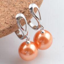Women's Fashion 925 Silver Dangle Pearl Ear Stud Hoop Earrings Wedding Jewelry