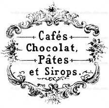 Furniture Decal Image Transfer Vintage Cafe Chocolate Upcycle Shabby Chic DIY