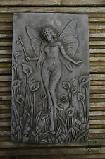FAIRY WATER NYMPH GARDEN WALL PLAQUE Hand Cast Stone Garden Ornament ⧫onefold-uk
